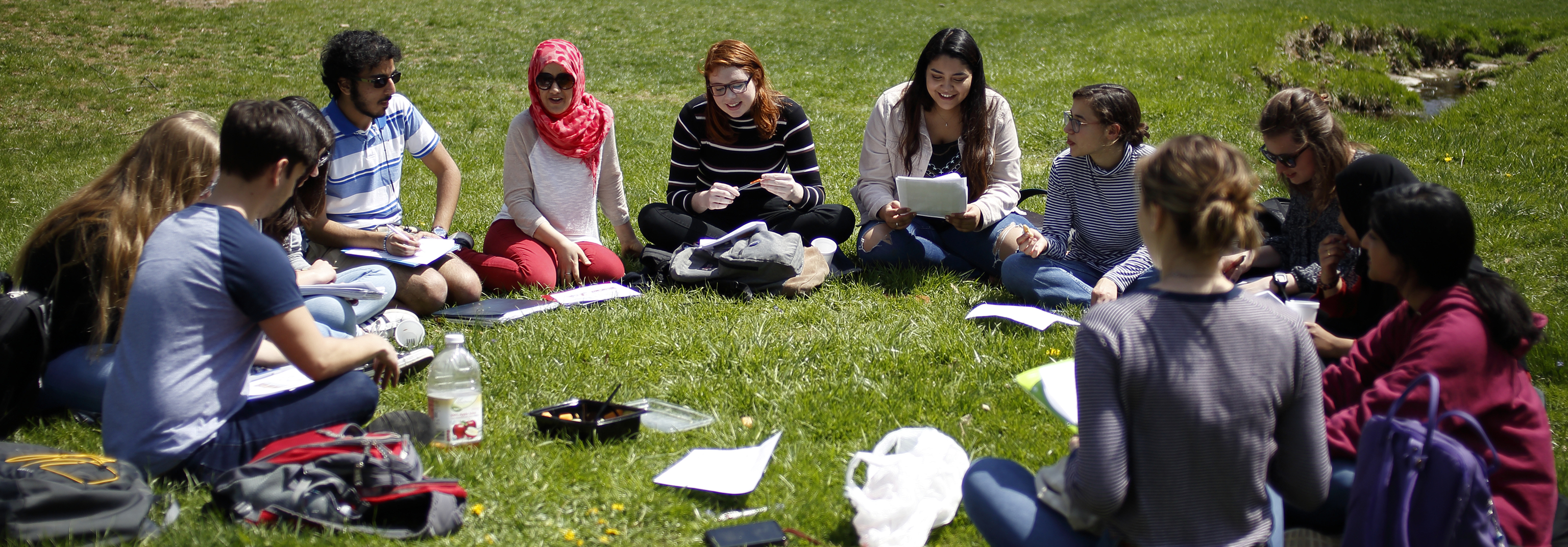 Students participate in an Arabic class, seated in front of Bryan House, taken on Wednesday, April 18, 2018.