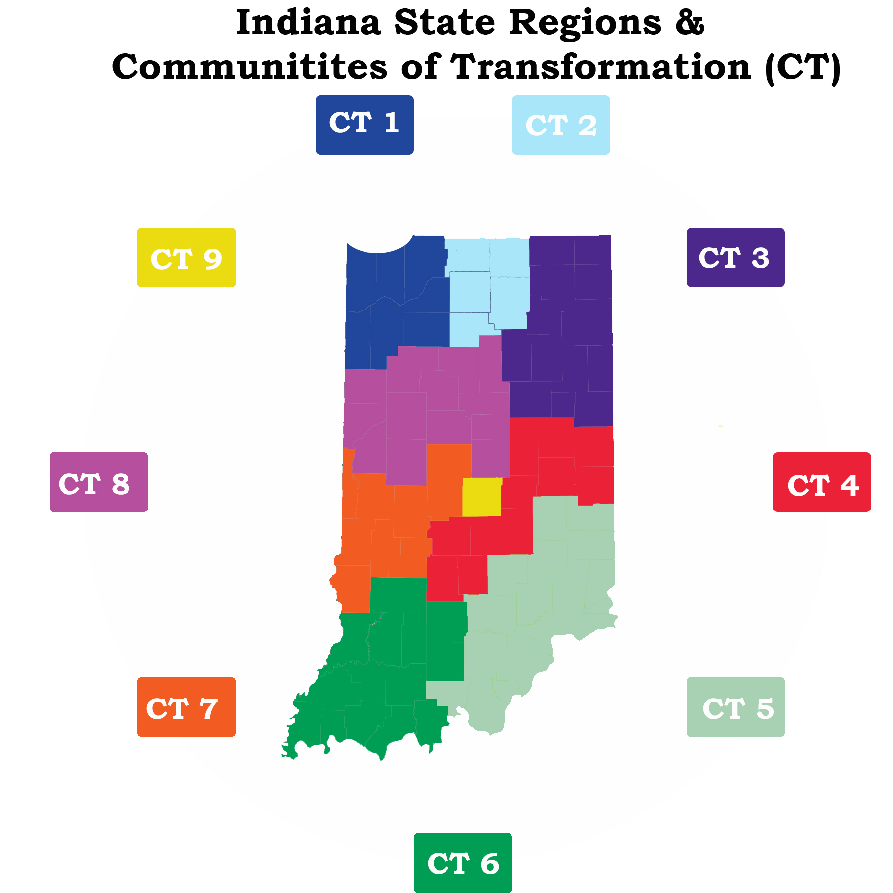 Indiana State regions and communities of transformation