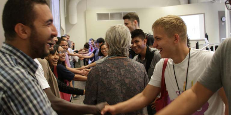 Students shaking hands